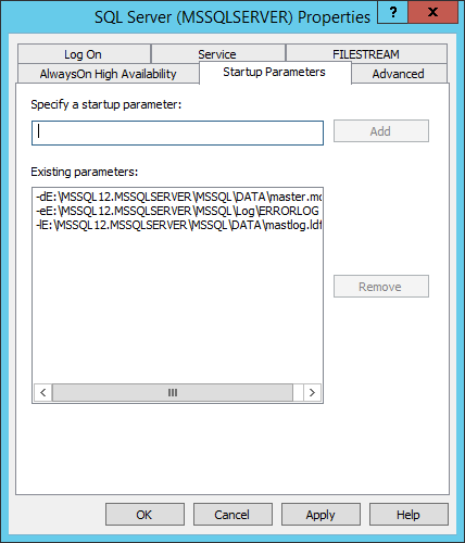 SQL2014StartupParameters