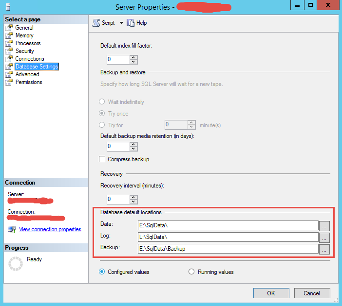 SQLServer2014DefaultDBPathConfig