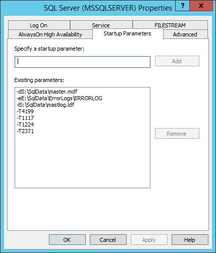 SQLServer2014StartupFinalParameters