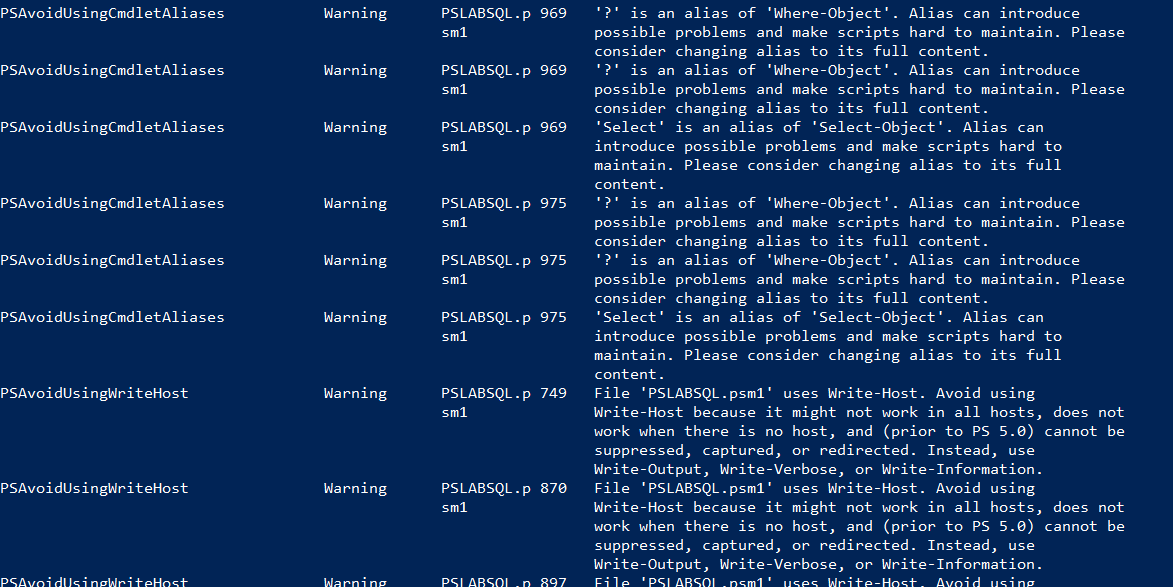 PSScriptAnalyzer-Output